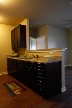 Kitchen with hardwood flooring and dark brown kitchen cabinets